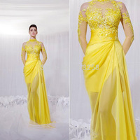 DH54 See Through Yellow Appliqued Sexy Chiffon High Neck Evening Dress 2015