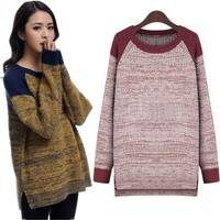 Free Shipping Korean Large Size Women Fat MM Winter Plus Fertilizer New Loose O-Neck Asymmetrical Sweater XL-5XL 2214