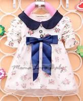 New Hot sales Baby Cotton Lace Girl Party Dress Big Bowknot Infants Flower Dresses Vestidos Infantil S, M, L, XL SV009379