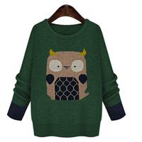 Korean Plus Fertilizer Plus Size Women Fat MM Loose Owl Medium-Long Sweater Free Shipping XL-2XL-3XL-4XL-5XL