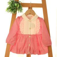 2015 New,baby girls plaid blouses,children cotton shirts,lace,3 colors,5 pcs/lot,wholesale,2020