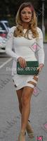 Free hkpost 2015 New Fashion Mesh Long Sleeve Sexy Party Evening Elegant Bodycon Bandage Women's Wear S/XXL 013