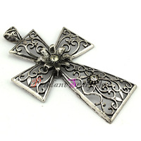 12 Pieces/lot Wholesale Zinc Alloy Metal Cameo Chunky Cross Charm Pendant For Necklace and DIY Pendant Scarf AC0354
