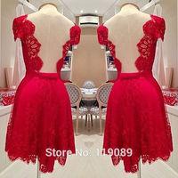 Ropa Feminino Verao Women 2015 Sexy V Neck Robe Red Lace Crochet Backless Club Dresses Floral Mini Vestidos Renda Bodycon HBQ40