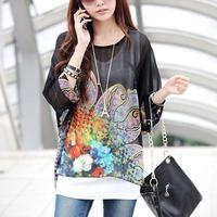 2015 New Chiffon Floral Blouse Women Loose Dolman Sleeve Tops Bohemian Oversize Chiffon Blouse T Shirt