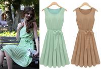 wholesale 30pcs fashion summer European style sleeveless vest chiffon pleated round neck dress via Express shipping