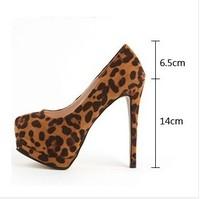 Size 34-41 New single shoes 14cm sexy leopard fashion wedding party women high heels women pumps Free shipping