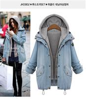 With Detachable Vest Women Plus Size XL-4XL Washed Vintage Blue Denim Coat Free Shipping ml1592