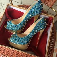 Free Shipping outstanding beautiful rhinestone crystal gold spikes fish peep toe 14cm heel platform woman lake blue shoes pump