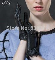 GSG   Ms.  Openwork lace flounced short paragraph sheepskin gloves   12074