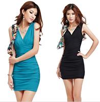 Deep v-neck fashionable nightclub low bosom big yards temperament package buttocks tight dress sexy dress