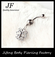 Free Shipping Crystal Butterfly Dangle 316 Stainless Steel Navel Belly Bar Button Ring Body Piercing Jewelry 50pcs/lot DQ014