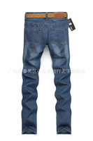 free shippingSpring 2014 new men washed cotton straight men's jeans blue denim trousers Korean tidal