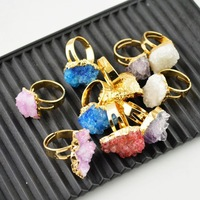 Druzy Rings - Mixed Color Drusy Ring Jewelry Finding 24 kt. Gold Plated Edge 5pcs/lot