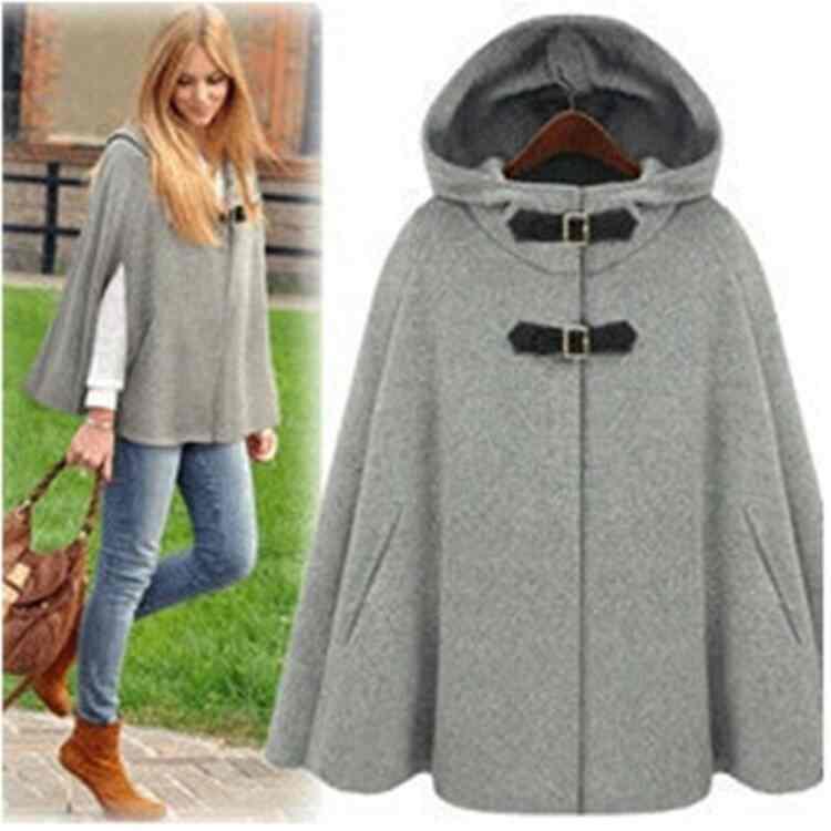 Free Shipping womens fashion hooded Cape coat shawl Cape coat female 201412233548(China (Mainland))