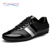 Discount Shoes For Men European Trendy Shoes Fashion Flats Shoes Patent Leather Mens Casual Zapatos Size 35 36 37 38 39 to 44