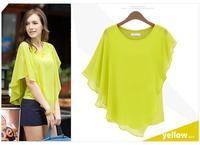 New Summer Dress 2014 Europe and America Fashion Flouncing Bat Sleeve chiffon Blouse Women TS1013