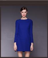 Women Sweet Solid Three Quarter Sleeve Dress Loose Casual Slim Luxury Office Dress For Female Blue Black Push Size S-XXXL