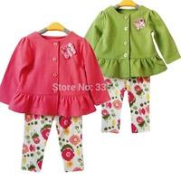 Hot Retail Fashion Girls Clothing Sets Coat + Flower Pants Baby 2PCS Set kids Spring Autumn Cothes suit