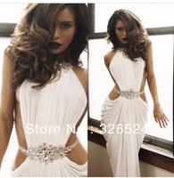 custom made Made Sexy Vestidos De Fiesta list front Crystal Beaded High Neck White Mermaid Long Prom Dress 2014 BO3386