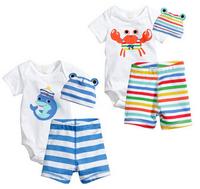 new summer 100% cotton baby romper Set boys or girls fashion cotton toddler romper + pants + hat 3 pcs baby clothing set