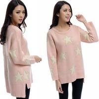 Free Shipping Korean Big Size Women Fat MM Fall Pentagram Star loose O-Neck Asymmetrical Sweater XL-XXXXXL  YLD2217