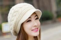 Free shipping lady Korean winter days, angora wool cap knitted cap child bunk warm winter hat tide ear