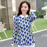 Spring 2015 New Listing Bohemian Style Sweet Women Blouse Doll Collar Print Ruffles Cotton Long Sleeve Women Chiffon Work Shirt