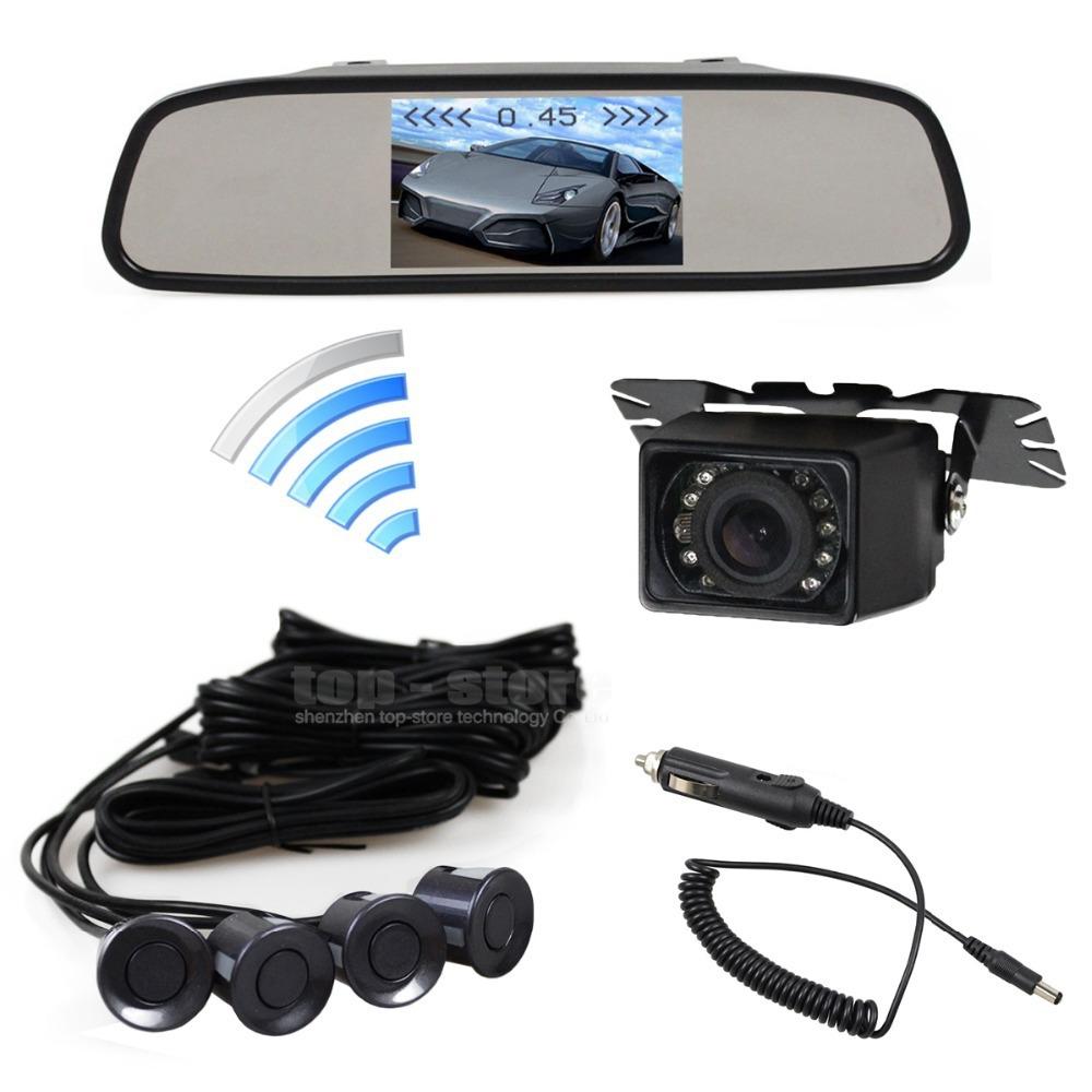 4.3 Inch Build-in Receiver Car Mirror Monitor IR Car Rear View Camera Wireless Video Parking Radar 4 Sensors Parking System(China (Mainland))