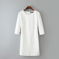 5784- 2014 Winter Women's European new solid round neck ponte-de-roma knit half sleeve Slim White casual Dress