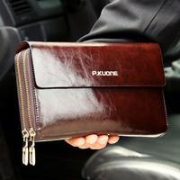 Hot Sale! New 2015 Luxury Shining Oil Wax Cowhide Men Clutch Bag Long Genuine Leather men wallets Double Layer Business Clutch