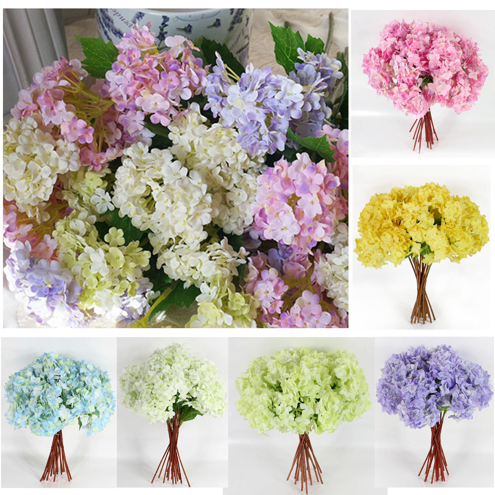 Hot Artificial Craft Hydrangea Bouquet Party Wedding Fake Bridal Silk Decorative Flowers & Wreaths Free Shipping 1Pcs/Lot(China (Mainland))