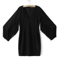 5783- Spring 2015 European Women's new Black stitching Slim V-neck long tassel package hip Dress