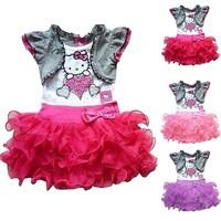2015 Summer Style Baby Girls Dress Cartoon Hello Kitty Princess Dresses Children Tutu Dress Vestidos Infantis C20