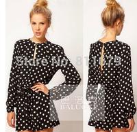 Vestidos De Renda Femininos 2015 New Women Dress Casual Long Sleeve Dot Plus Size Dresses