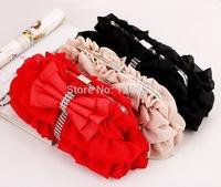 New Women's Clutch Rhinestone Bow Satin Evening Bag Wedding Bridal Handbag Purse Chain Shoulder Messenger Bag Female Bags 50018