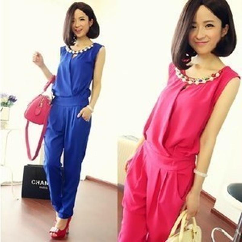 2014 verão quente vender damas elegantes das mulheres macacão cone mangas macacão jóia colar(China (Mainland))