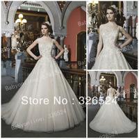 2014 New arrvials wedding dress high neck see through ball gown lace bridal dress wedding gown JA8725