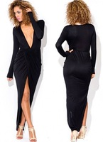 2015 high quality women's summer Black bandage dresses Long sleeve deep V-neck  split hem sexy nightclub party dress clothing