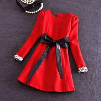 Free shipping Wholesale Korean round neck long-sleeved waist edge late autumn and winter PU leather belt Slim big swing dress