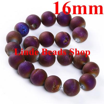 Free shipping! 25pcs/lot 16mm Metallic Purple natural weathering smile agate onyx round Loose Bead jewelry beads R0020(China (Mainland))