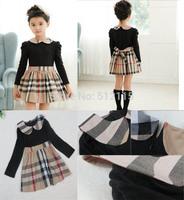 Brand baby girls dress autumn spring Girl's Fashion Apparel Kids dress party princess girls' dresses plaid Cotton
