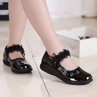 2015 new spring summer autumn girls bright PU leather shoes kids princess shoes patent leather black single shoes school flat