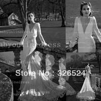 New arrival modest inbal dror wedding dress long sleeve deep v neck open back sexy bridal gown dress free shippingBO2496