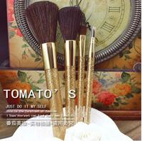 2014 HOT Makeup tool kit 4Pc Horse Hair makeup brush set Cosmetic Tools Kit Powder brush /foundation Eyeshadow Brush lips Golden