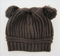 New 2015 Spring Knitted Hat Lovely Double Ball Unisex Children Cap 5 Colors HT008