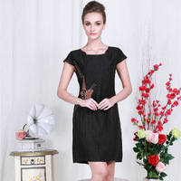 Silk buttercup silk silk cheongsam dress modified middle-aged mother dress fashion noble ladies short sleeve