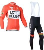 2014 Men LOTTO Ropa ciclismo long cycling jersey Bicycle bicicleta mountain bike maillot shirt clothing (bibs) pants set