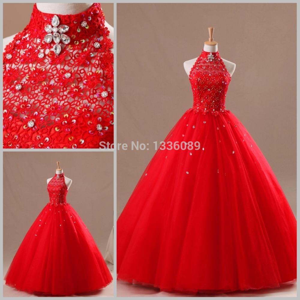 De fiesta de quince a 241 os compra lotes baratos de rojo vestidos de
