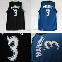 Minnesota 3 Stephon Marbury Basketball Jersey, Cheap Black, Blue Throwback Retro Stephon Marbury Jersey, S-XXL Free Shipping